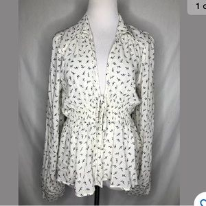 Free People Floral Print Blouse Boho Collared